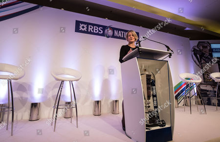 2017 RBS 6 Nations Rugby Championship Launch, The Hurlingham Club, Ranelagh Gardens, London 25/1/2017. CEO Commercial & Private Banking RBS, Alison Rose speaking at the launch of the 2017 RBS Six Nations Championship at The Hurlingham Club in London today