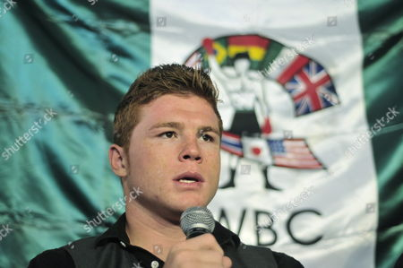 Stock Photo of Mexican Boxer Saul 'Canelo' ?lvarez Speaks During a Press Conference in Mexico City where He Announced the Middleweight Title Defense Against England's Ryan Rhodes on 18 June in the 'Vicente Fernandez' Arena in the Town of Tlajomulco State of Jalisco Mexico on 26 April 2011 Mexico Ciudad De M?xico