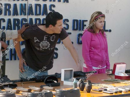 Luis Ramirez Vazquez (l) Aka 'El Guero Camaron' and Alicia Bracamontes (r) Daughter of Eduardo Arellano Felix Are Shown to the Media in Tijuana Mexican State of Baja California 26 October 2008 After Being Captured by Members From the Mexican Army and Federal Police Ramirez Vazquez and Eduardo Arellano Felix Aka 'El Doctor' an Important Member of the Tijuana Drug Cartel and Wanted by the Drug Enforcement Administration (d E a ) Were Arrested Following a Three-hour Gun Battle in Tijuana Mexico Tijuana