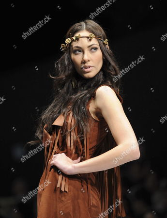 A Model Walks Down the Catwalk Wearing a Creation by Mexican Designer Elena Gomez Toussaint During the Dfashion Mercedes-benz Fashion Show of Spring-summer 2011 Collections Mexico City Mexico on 29 October 2010 Mexico Mexico City