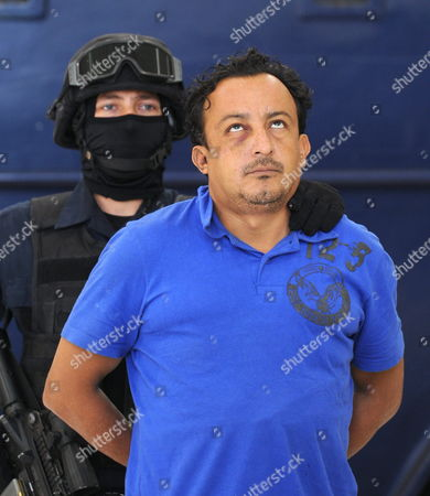 Stock Picture of Federal Police Officers Exhibit Jesus Cardenas Perez Aka El Manos and Cesar Arturo Galindo Aka El Guason (not Pictured) in Mexico City 02 May 2011 Perez and Galindo who Were Arrested on Sunday 01 May at the Municipality of Jiutepec in Morelos Are Accused of Being the Alleged Murderers of Juan Francisco Sicilia Son of the Mexican Writer Javier Sicilia who was Killed in Temixco Morelos Mexico Last 27 March Mexico Mexico City