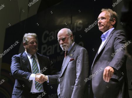 Us Former Vice President Albert 'Al' Gore (l) and Internet Pioneers Us Vinton Cerf (c) and British Tim Berners-lee (r) During a Conference As Part of the 3rd Edition of the Annual Week-long Festival and Lan Party Campus Party of Mexico in Mexico City Mexico 19 July 2011 Mexico Mexico City