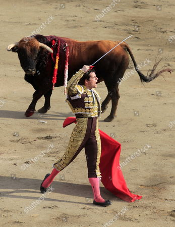 Spanish Bullfighter Julian Lopez Escobar Known As 'El Juli' During His Series at the Plaza De Acho of Lima Peru 05 December 2010 at the Last Day of the Feria Del Senor De Los Milagros Peru Lima