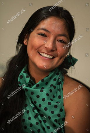Leading Actress of the Peruvian Film Nominated For an Oscar 'La Teta Asustada' (the Milk of Sorrow) Magaly Solier Smiles During a Press Conference in Lima Peru 17 February 2010 the Movie by Peruvian Director Claudia Llosa is Nominated For Best Foreign Language Film at the Academy Awards 2010 Peru Lima
