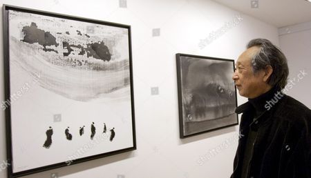 Chinese Literature Nobel Prize Gao Xingjian is Pictured During His Exhibition 'Nouvelles Encres' That Gathers His Recent Paintings in Indian Ink at the Senda Gallery in Barcelona Spain 31 March 2011 the Exhibition Runs From 31 March Until 14 May 2011 Spain Barcelona