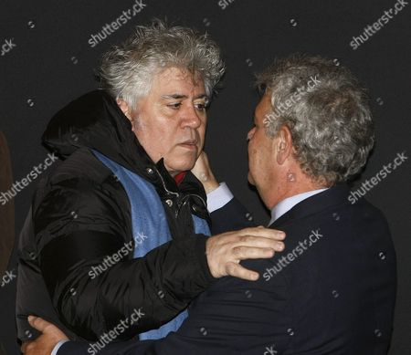 Spanish Filmaker Pedro Almodovar (l) Comforts Jose Luis Berlanga Son of Deceased Spanish Filmaker Luis Garcia Berlanga at the Funeral Chapel of His Father Set at the Spanish Cinema Accademy in Madrid Spain 14 November 2010 the 89-year-old Filmaker Died Early 13 November 2010 at His Home in Madrid Spain Madrid