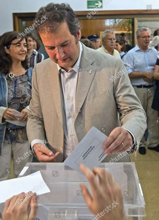 Current Mayor of Barcelona and Candidate For His Re-election Jordi Hereu From the Catalan Socialist Party (psc) Casts His Ballot at a Polling Centre in Barcelona North-eastern Spain 22 May 2011 During the Local Elections About 35 Million People Were Eligible to Vote For Municipal Councils All Over the Country and For Regional Governments in 13 of the Country's 17 Semi-autonomous Regions Spain Barcelona