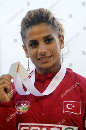 Turkish Athlete Nevin Yanit Celebrates at the Podium the Day After the Women's 100 Metres Hurdles Event in the European Athletics Championships Held at Olympic Stadium Lluis Companys on 1 August 2010 in Barcelona Northeastern Spain Spain Barcelona