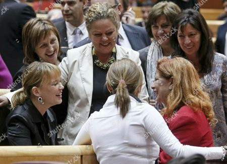 The Current Ruling Spanish Socialist Party's Secretary-general Leire Pajin (l Seated) is Congratulated by Several Senators For Her Appointment As New Health Minister During a Plenary Session of the Upper House of Spanish Parliament Madrid Spain 20 October 2010 Spanish Prime Minister Jose Luis Rodriguez Zapatero Will Carry out an Extensive Government Reshuffle Replacing Deputy Prime Minister Maria Teresa Fernandez De La Vega and Several Other Key Ministers Government Sources Said 20 October Spain Madrid