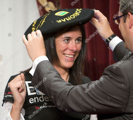Spanish Climber Edurne Pasaban Smiles During a Reception Held to Pay Tribute to Her Achievements in San Sebastian Northern Spain 28 May 2010 Pasaban Recently Arrived Back in Spain After Reaching the Top of Her Last of the Fourteen World's Tallest Mountains Spain San Sebastian