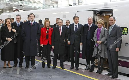 (l-r) Valencia's Mayor Rita Barbera; Madrid's Mayor Alberto Ruiz Gallardon; Popular Party Leader Mariano Rajoy; Health Social Policy and Equality Minister Leire Pajin; Spanish Public Works Minister Jose Blanco; Spanish Primer Minister Jose Luis Rodriguez Zapatero; Spain's King Juan Carlos I; Madrid's Regional Government President Esperanza Aguirre and Valencia's Regional Government President Francisco Camps Are Pictured at Atocha Train Station Before Boarding the Ave High-speed Train For Its Inaugural Run Between Madrid and Valencia in Madrid Central Spain 18 December 2010 Spain Madrid