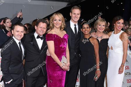 BBC Breakfast presenters - Mike Bushell, Louise Minchin, Dan Walker, Naga Munchetty, Carol Kirkwood and Sally Nugent