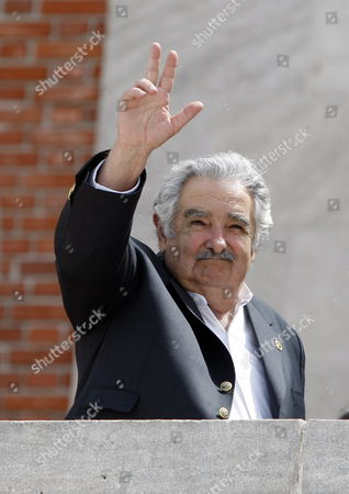 Uruguayan President Jos? Mujica Waves After the Official Photo During the Xx Ibero- American Summit in Mar Del Plata Argentina 04 December 2010 Argentina Mar Del Plata