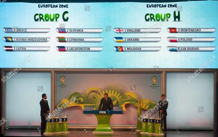 Former Brazilian Player Ronaldo (l) Fifa's General Secretary J?rome Valcke (c) and Brazilian National Selection Player Paulo Henrique Ganso (r) Participate During the Preliminary Draw For the Fifa 2014 World Cup Brazil in Rio De Janeiro Brazil 30 July 2011 Present and Past Brazilian Soccer Players Such As Neymar Ronaldo Bebeto and Cafu Were to Draw the Teams From the Various Fifa Confederations Fifa Said That 175 Teams From an Original 203 (pre-qualifying Games Were Played in Some Areas) Will Play 824 Matches to Determine the 31 Teams to Join the Automatically Qualified Hosts Brazil Rio De Janeiro