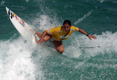 Brazilian Surfer Maya Gabeira Competes During the Second Round of the Billabong Rio Pro As Part of the Surf?s World Tour at Barra Da Tijuca Beach in Rio De Janeiro Brazil 12 May 2011 Brazil Rio De Janeiro