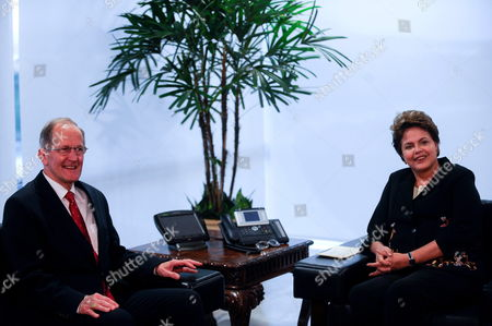 Stock Picture of Brazils President Dilma Rousseff (r) Smiles Next to Un General Assembly President Swiss Joseph Deiss (l) During a Meeting at the Planalto Palace in Brasilia Brazil on 20 June 2011 Deiss is on a One-day Visit to Brazil Brazil Brasilia