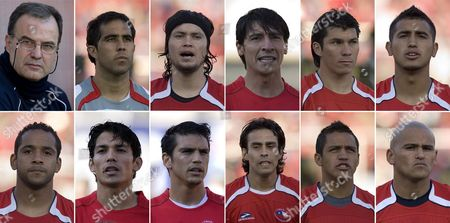 A Combo of Pictures Made Available on 01 June 2010 Shows (up L-r) Argentine Coach Marcelo Bielsa and Players Claudio Bravo Waldo Ponce Pablo Contreras Gay Medel and Arturo Vidal (down L-r) Jean Beausejour Matias Fernandez Mark Gonzalez Jorge Valdivia Alexis Sanchez and Humberto Suazo the Chilean Squad For Soccer World Cup South Africa Bielsa Chose His Squad on 01 June 2010 in a List Published by the Chilean Soccer Asosiation Chile Santiago