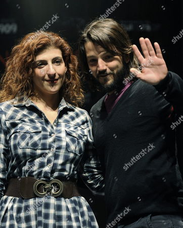 Mexican Actor and Director Diego Luna (r) Poses with Actress Karina Gidi (l) During a Preview of the Play 'Incendios' ('fires') at Arena Coyoacan Cultural Compound in Mexico City Mexico Luna Produces the Play a Role That is not New For Him After Having Produced 'El Buen Canario' ('the Good Canary') with Us Actor John Malkovich Amongst Other Plays Mexico Mexico City