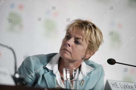 Stock Picture of Danish Minister of Enviroment and Gender Equality Lykke Friis During the Signing of an Agreement Between the World Bank and Denmark in Cancun Mexico on 08 December 2010 Which Intends to Provide the 43 Members of the Alliance of Small Islands States (aosis) with a Bigger Possibility of Obtaining Renewable Energy Mexico Cancun