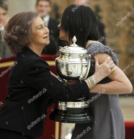 Spanish Queen Sofia (l) Hands Over the Best Spanish Sportswoman in 2010 Award to Spanish Mountaineer Edurne Pasaban (r) During the 2010 National Sports Awards Ceremony Held at El Pardo Palace in Madrid Spain 28 February 2011 the Ceremony was Presented by the Spanish Royal Family Spain Madrid