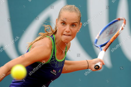 Dutch Tennis Player Arantxa Rus Gets Ready to Return the Ball to Dinara Safina From Russia During Their Andalusia Tennis Experience Match at the the Puente Romano Tennis Club in Marbella (malaga) Andalusia Southern Spain on 05 April 2011 Safina Won 3-6 6-2 and 6-4 Spain Marbella (m?laga)