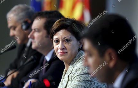 Spanish Minister For the Environment and Rural and Marine Affairs Elena Espinosa (front) Egyptian Secretary of Environment Hussein El Afty (l) and Barcelona?s Mayor Jordi Hereu (2-l) Attend the Opening Session of the Iv Euro Mediterranean Conference on Water in Barcelona Northeastern Spain on 13 April 2010 Spain Barcelona