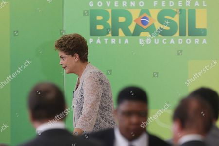 Brazilian President Dilma Rousseff Arrives For the Inauguration Ceremony For the New Brazilian Treasury Minister Nelson Barbosa at Planalto Palace Brasilia Brazil 21 December 2015 Joaquim Levy Resigned As Brazil's Finance Minister Last Friday Amid the Struggling Economy and a Push by Some in Congress to Impeach Rousseff His Replacement - Nelson Barbosa who Had Been Heading Up the Planning Ministry - was Critical of Some of the Austerity Measures Put Forward by His Predecessor Brazil Brasilia