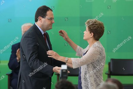Brazilian President Dilma Rousseff (r) Greets the New Brazilian Treasury Minister Nelson Barbosa (l) During an Inauguration Ceremony For Barbosa at Planalto Palace Brasilia Brazil 21 December 2015 Joaquim Levy Resigned As Brazil's Finance Minister Last Friday Amid the Struggling Economy and a Push by Some in Congress to Impeach Rousseff His Replacement - Nelson Barbosa who Had Been Heading Up the Planning Ministry - was Critical of Some of the Austerity Measures Put Forward by His Predecessor Brazil Brasilia