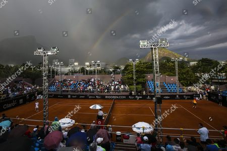 A General View During the Game Between Italian Fabio Fognini and Spanish Daniel Gimeno-traver at the Rio De Janeiro Open Tennis Tournament in Rio De Janeiro Brazil 17 February 2016 the Game was Suspended by the Rain Brazil Rio De Janeiro