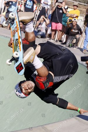 Stock Photo of Us Skateboarder Steve Caballero in Action During the Final of the Master Heat in the Festival 'Bowlzilla' in the Coast of Valparaiso Chile on 16 January 2016 World Stars of Skateboarder Participate in the Sport Music Festival the First Great Meeting of Music and Skateboarding in South America Chile Valpara?so