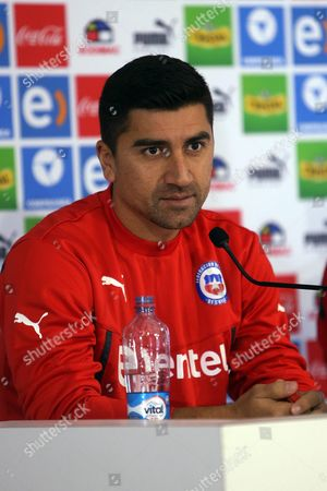Chile National Soccer Team Player David Pizarro Speaks During a Press Conference at Sports Complex Fernando Riera in Santiago Chile 26 June 2015 Chile Will Face Peru in One of the Semifinals of the Copa America 2015 Chile Santiago