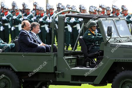 Colombian President Juan Manuel Santos (r) and New Colombian Defense Minister Luis Carlos Villegas (l) Review the Army Forces During a Military Ceremony in Bogota Colombia on 24 June 2015 Villegas Former Colombian Ambassador in the Us and Former Member of the Peace Talks Negociation Team with Farc Guerrilla in Cuba Replaces Juan Carlos Pinzon who Will Be New Colombian Ambassador in the Us Colombia Bogotß