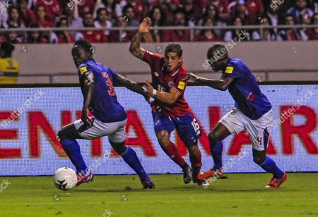 Stock Picture of Cristian Gamboa (c) of Costa Rica Vies For the Ball with Jerome Mechak (l) and Jaggy Kim (r) of Haiti During Their Russia 2018 Qualifying Match at National Stadium in San Jose Costa Rica 13 November 2015 Costa Rica San Jos?