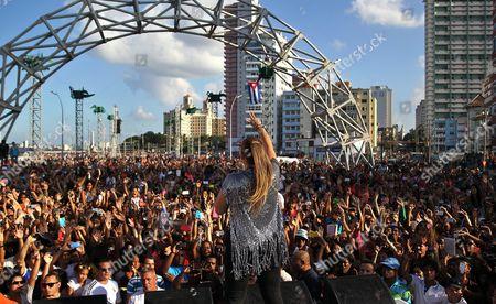 Puerto Rican Singer Olga Tanon (c) Gives a Concert in Havana Cuba 12 December 2015 Tanon was Accompanied on the Stage by Bands Descemer Bueno and 'Qva Libre' Cuba Havana