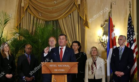 Us Assistant Secretary at the Bureau of Economic and Business Affairs Charles H Rivkin (c) Delivers an Speech After the Signing of Documents of a Memorandum of Understanding Between the Governments of the Usa and Cuba Including Civil Aviation Regulations and Direct Routes Between Cuba and the Us For the First Time in Over Fifty Years in Havana Cuba 16 February 2016 Others Are not Identified Direct Commercial Flights Between the Us and Cuba Could Begin in Late 2016 Under the Agreement Formally Signed on 16 February Up to 20 Us Flights Per Day to Havana and Up to 10 Flights to Each of Nine Other Airports Will Be Allowed Under the Deal to Be Signed by the Us and Cuban Ministers in Havana Cuba Havana