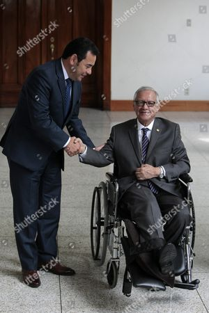 Stock Picture of Guatemalan President-elect Jimmy Morales (l) Meets with Guatemalan Acting President Alejandro Maldonado (r) at Presidency Residence in Guatemala City Guatemala 02 November 2015 Both Leaders Met to Prepare the Goverment?s Transition Guatemala Guatemala City