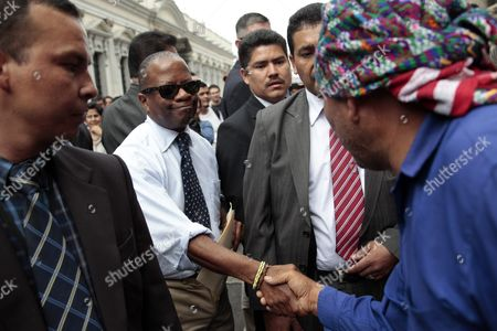 Us Ambassador in Guatemala Todd Robinson (2-l) Shakes Hands with a Demonstrator During a March in Front of the Congress Building in Guatemala City Guatemala 06 July 2015 More Than 100 Civil Groups That Are Part of the National Platform For State Reform Called For the Immediate Approval of the Election and Political Party Reform Law in Guatemala Guatemala Guatemala City