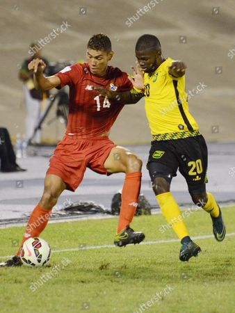Kemar Lawrence (r) of Jamaica Vies For the Ball with Valentin Pimentel (l) Panama During Their Russia World Cup 2018 Concacaf Qualifying Match at National Stadium in Kingston Jamaica 13 November 2015 Jamaica Kingston