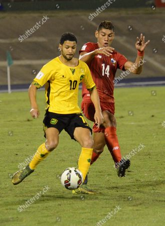 Joel Macnuff (l) of Jamaica Vies For the Ball with Valentin Pimentel (r) Panama During Their Russia World Cup 2018 Concacaf Qualifying Match at National Stadium in Kingston Jamaica 13 November 2015 Jamaica Kingston