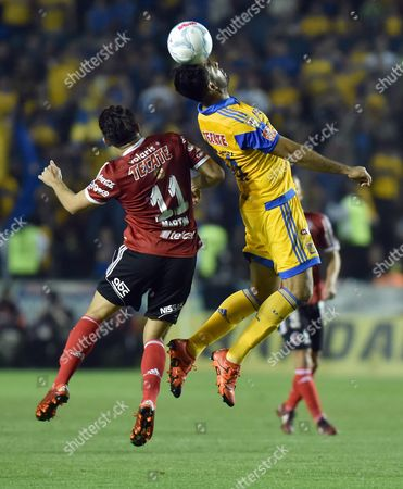 Jose Rivas (r) Or Tigres in Action Against Henry Martin (l) of Tijuana During a Match of the Torneo Clausura 2016 Between Tigres and Tijuana at the Universitario Stadium in Monterrey M?xico on 13 February 2016 Mexico Monterrey
