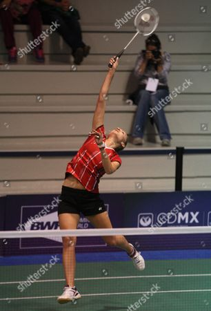 Hungarian Laura Sarosi in Action Against Australian Elisabeth Baldauf During the Second Day of the Badminton Grand Prix in Mexico City Mexico 16 December 2015 Mexico Mexico City