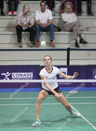 Australian Elisabeth Baldauf in Action Against Hungarian Laura Sarosi During the Second Day of the Badminton Grand Prix in Mexico City Mexico 16 December 2015 Mexico Mexico City