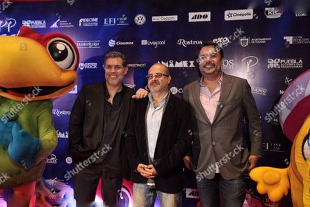 Stock Image of A Photograph Made Available on 20 January 2016 Showing Mexican Director Ricardo Arnaiz (l) and Mexican Producers Gerry Cardoso (c) and Alex Flores (r) on the Red Carpet of the Film 'El Americano the Movie' by Mexican Director Ricardo Arnaiz in Mexico City Mexico 19 January 2016 Mexico Mexico City