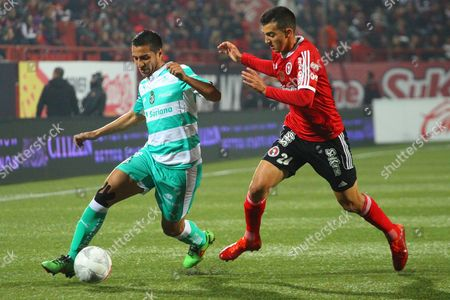Xolos Tijuana Team Player Luis Chavez (r) Fights For the Ball with Santos Laguna's Cesar Ibanez (l) During Their Apertura Tournament Match in Tijuana Mexico 22 January 2016 Mexico Tijuana