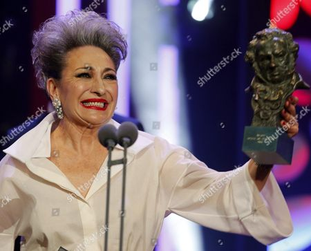 Spanish Actress Luisa Gavasa Poses with Her Best Supporting Actress Award For the Film 'La Novia' (the Girlfriend) During the 30th Goya Awards Ceremony at the Madrid Marriott Auditorium Hotel in Madrid Spain 06 February 2016 the Goya Awards Are Handed out by the Spanish Film Academy Spain Madrid