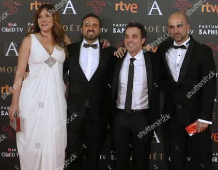 Spanish Film Director Daniel Guzman (2-r) and Producers Miriam Ruiz Mateos (l) Inigo Perez-taberner (r) and Cesar Rodriguez (2-l) Arrive For the 30th Goya Awards Ceremony at Madrid Marriott Auditorium Hotel in Madrid Spain 06 February 2016 Their Film 'A Cambio De Nada' (nothing in Return) is Nominated in Six Categories the Goya Awards Are Handed out by Spanish Film Academy Spain Madrid