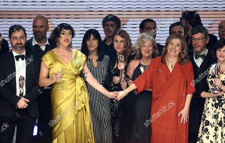 Spanish Actress and the Event's Host Rossy De Palma (3-l) and the President of the Catalonian Cinema Academy Isona Passola (3-r) Pose with Laureates at the End of the Viii Gaudi Awards Ceremony in Barcelona Spain Late 31 January 2016 the Awards Are Presented Annually by the Catalonian Cinema Academy Spain Barcelona