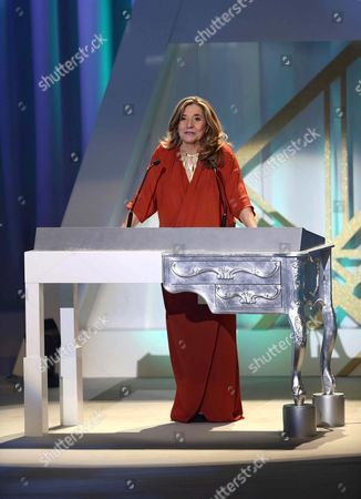 Stock Image of The President of the Catalonian Cinema Academy Isona Passola Speaks During the Viii Gaudi Awards Ceremony in Barcelona Spain Late 31 January 2016 the Awards Are Presented Annually by the Catalonian Cinema Academy Spain Barcelona