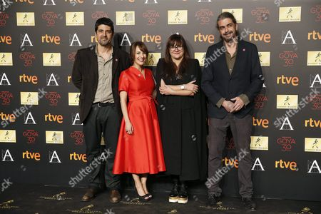 Spanish Directors Nominated in the 'Best Director' Category (l-r) Cesc Gay Paula Ortiz Isabel Coixet and Fernando Leon De Aranoa Pose For the Media During the Goya Awards Nominees Party Held at the Palacio De Cibeles in Madrid Spain 26 January 2016 the 30th Goya Awards Ceremony Takes Place on 06 February Spain Madrid