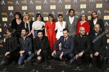 Spanish Director Paula Ortiz (back 4-l) Poses with Crew and Cast of Her Movie 'La Novia (the Girlfriend)' During the Goya Awards Nominees Party Held at the Palacio De Cibeles in Madrid Spain 26 January 2016 the 30th Goya Awards Ceremony Takes Place on 06 February Spain Madrid